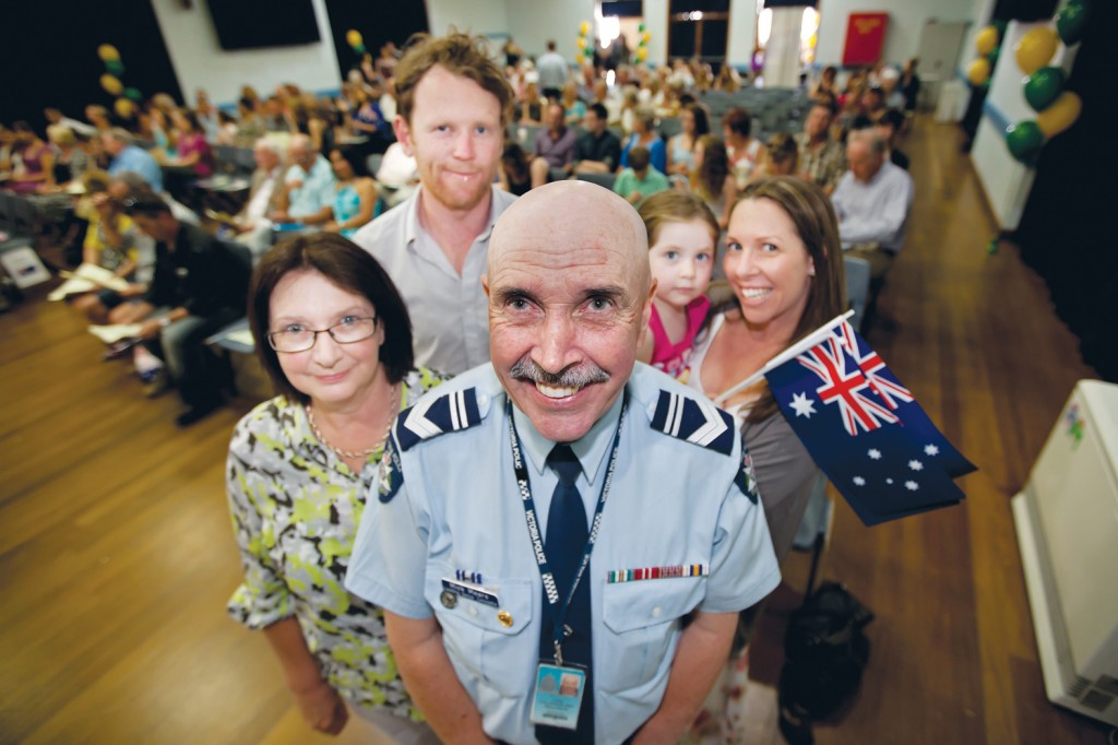 The shire's 2014 Citizen of the Year, Leading Senior Constable Mick Mears, with his wife Janette, son Luke and his wife Tracey, and Mick's granddaughter Macie. Picture: Yanni