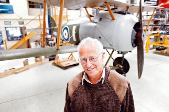 Hanging out: Nick Caudwell and his replica Sopwith Snipe biplane. Picture: Yanni
