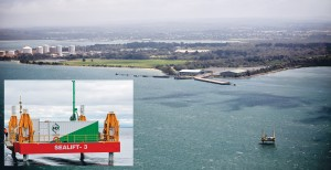 Survey points: Drilling sites on land and sea are shown in purple on a map produced by the Port of Hastings Development Authority, left; above, the drilling rig in place off the BlueScope jetty near Hastings.