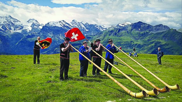 Blowing their own trumpet: Committee members of the International Mountain Trademark Protection Council at their annual meeting last year.