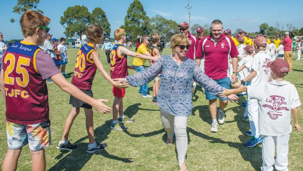 Show of support: Rosie Batty received a guard of honour at the tribute cricket match for her son Luke at Tyabb Reserve on Sunday. Picture: Gary Sissons