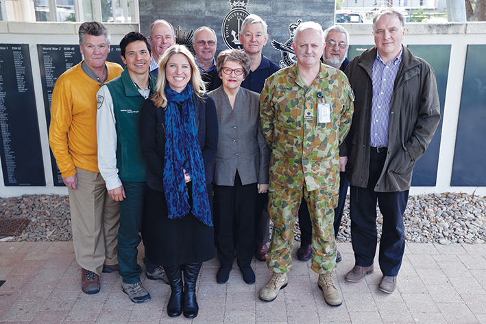 Ready for action:  The First Shot committee organising the 5 August ceremony at Point Nepean, from left, Michael Jeffreson, Victor Teoh, Sally Hutchinson, David Garnoch, Russell Joseph, Alison Fraser, John Prentice, Bernie Gaynor, Arthur Hicowe, Francis Trainor. Picture: Yanni
