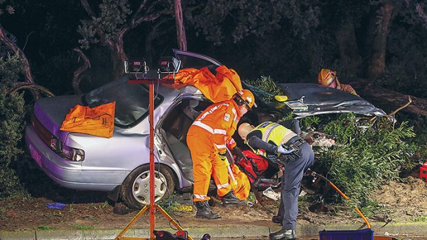 On Wednesday night (4 June) six people were injured in a three-car accident on Nepean Highway, Seaford. Picture: Gary Sissons