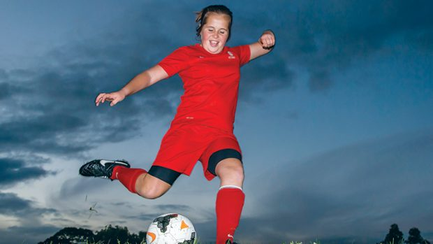 Kicking goals: Chelsea Ford needs to raise to compete in national soccer championships at Coffs Harbour. Picture: Gary Sissons