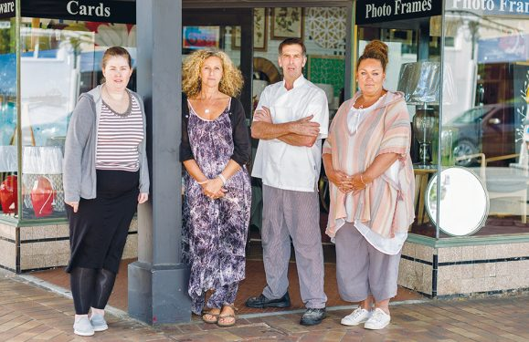 Market talks: Traders who say Mornington's Main St market may have outlived its usefulness, from left, Sue Clement and Lisa Joannou-Gillespie of Pomme, Doug Gray of Houghtons Fine Foods, and Nadine Garrett of Framers' Workshop. Picture: Yanni