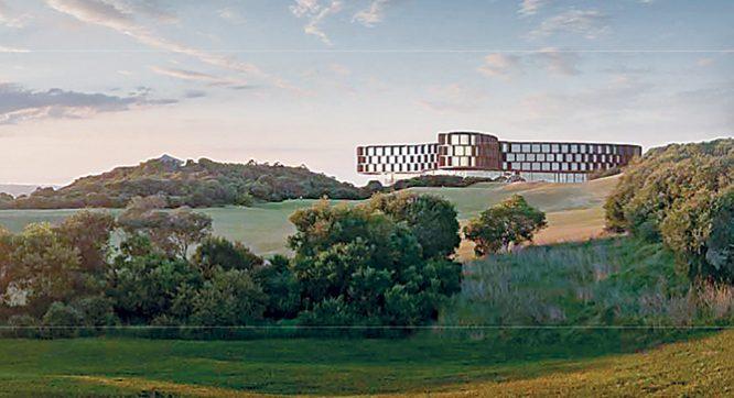 Big sky view: Artist's impression of how the five-storey building will look from Trent Jones Drive, Cape Schanck.