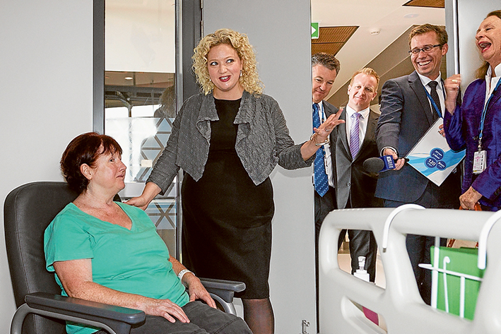 Doing the rounds: Patient Jeanette Murphy, left, Health Minister Jill Hennessy, Peninsula Health chief operating officer Brendon Gardner, Frankston Labor MP Paul Edbrooke, Channel 9 reporter Andrew Lund and Peninsula Health chairwoman Nancy Hogan at the official opening of Frankston Hospital's new building. Picture: Gary Sissons