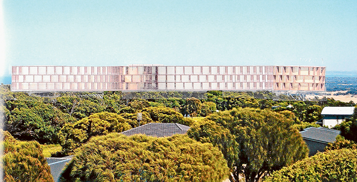 """Ground control: Neighbours of the proposed 30-metre high RACV Cape Schanck resort have dubbed it """"the mothership"""". This artist's impression shows the view of the resort's 30-metre high building from one of 200 homes in the precinct. It blocks the owner's view of Bass Strait."""