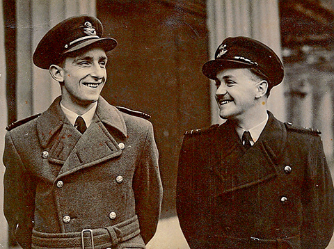 Keith (on the right) at Buckingham Palace, May 1944 with with pilot, Flt.Lt. P.A.F Hawkin, who also received the DFM.   Below: The citation for the Distinguished Flying Medal.