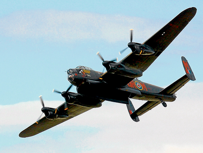 An Avro Lancaster Bomber similar to the aircraft in which Keith flew 62 missions.