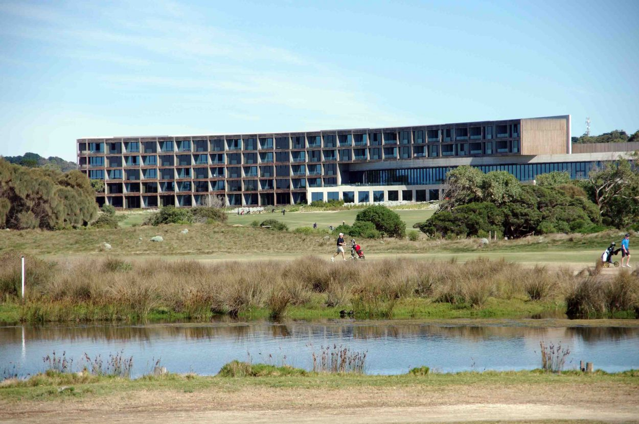 West Coast style: The RACV's golfing resort at Torquay dominates the landscape.