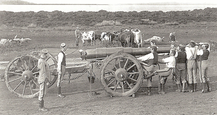 Above: A drill on the Hastings Foreshore with one of the forty pounders.