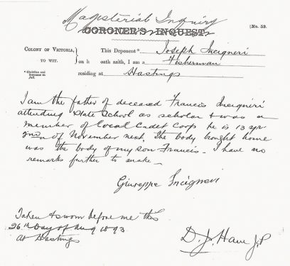 The affidavit provided by Giuseppe to the Magesterial Inquiry