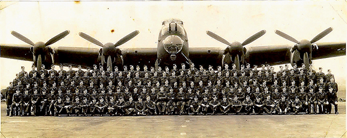 The 57 Squadron, Scampton, 1943. Keith is tenth from the right, second row.