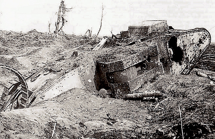 Above: A tank after coming to grief at Bullecourt.