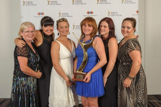 Award winning smiles: It was smiles all round when Frankston Visitor Information centre was inducted into the national tourism hall of fame, from left, Marilyn Ambrose, Natalie Nash, Sam Jackson, Sandra Mayer, Amy Parsons and Melanie Grinter.