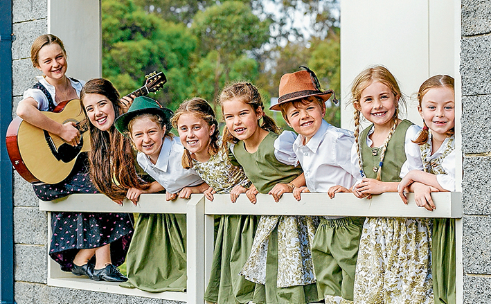 Familiar sounds: Students rehearse at Mornington's Peninsula Community Theatre for the award-winning screen musical The Sound of Music. They are Harmony, Denique, Autumn, Clara, Belle, Odin, Becky, and Daisy. Picture: Yanni