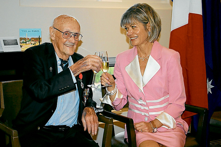 A la votre: Here's cheers for Keith Stevens in April when presented with the Legion of Honour by the French Honorary Consul General, Myriam Boisbouvier-Wylie.