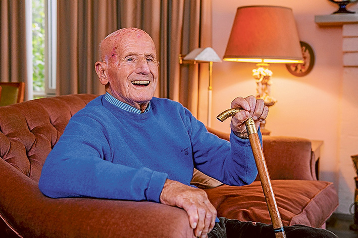 Right at home: Beaming Mt Eliza centenarian Vic Shadforth ready to celebrate a special milestone. Picture: Gary Sissons