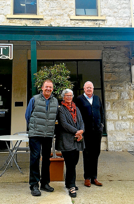 Preservation: Sorrento area shire councillor Tim Rodgers, left, with Rae Riley and Colin Watson of Nepean Ratepayers Association in Ocean Beach Rd, Sorrento. Picture supplied
