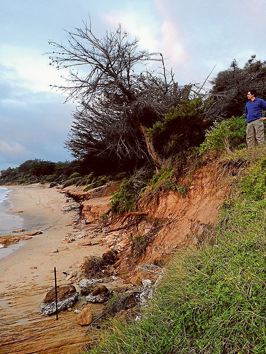 Going, going: Erosion at Portsea front beach toward the eastern end happened in early May during storms and strong winds. Picture: Josh Clark/Dive Victoria
