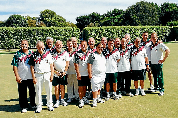 Golden hopes: Frank Krsolvic (white shorts, front) with members of Rye Bowls Club's victorious Division 1 team.