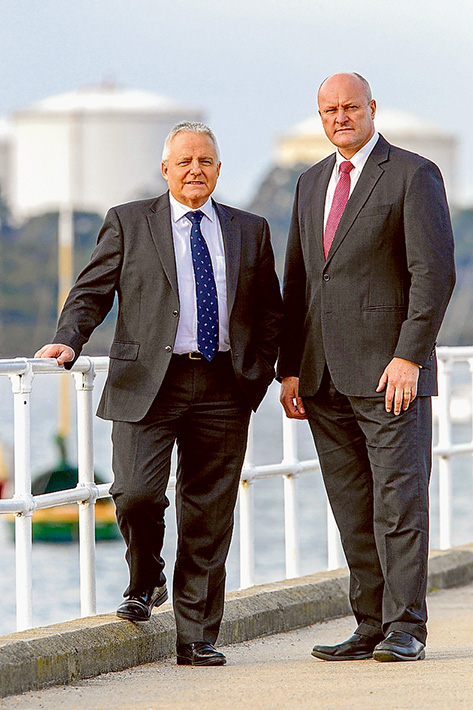 """Making a point: Hastings MP Neale Burgess, left, and former ports minister David Hodgett last week accused the labor state government of abandonning a container port in favour of bringing """"toxic"""" industries to Hastings. Picture: Gary Sissons"""