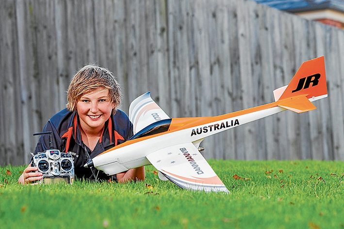High hopes: Daniel Arapakis with his Minute Master radio controlled plane. He will tackle the world's best pilots in the Czech Republic next month. Picture: Gary Sissons