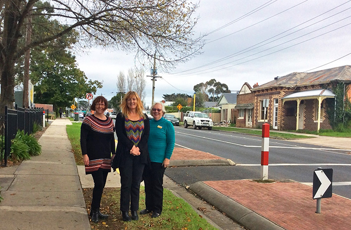 Slow down: New speed limits and traffic treatments for Eramosa Rd East have the approval of parent Kim Fitcher, Somerville Primary School principal Sue Goodall, and Cr Lynn Bowden.