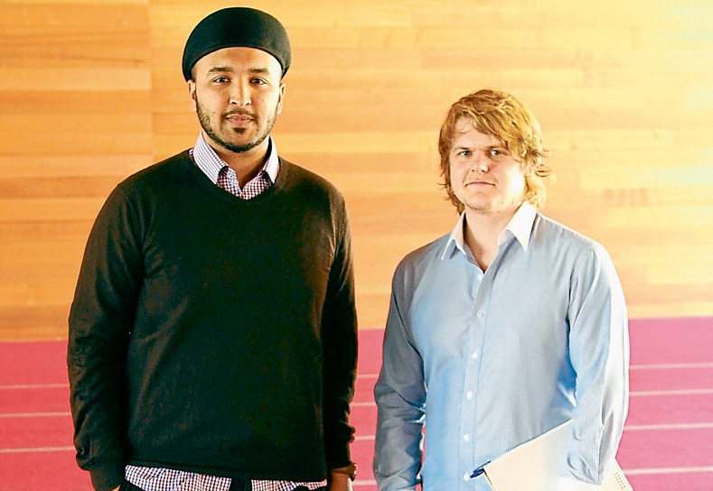History lesson: Andrew Dixon, right, learnt much about long standing conflict among Muslim communities after interviewing Imam Syed Wadood Janud at the Ahmadiyya Muslim Association's mosque at Langwarrin. Picture: Cameron McCullough