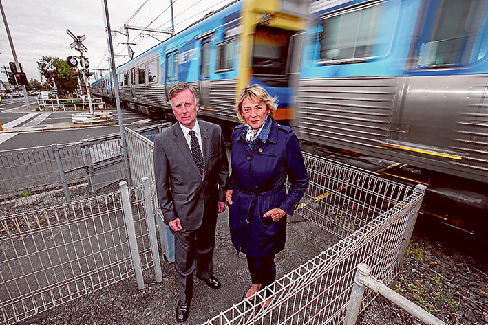 Train troubles: Mornington Liberal MP David Morris and Upper House Liberal MP Inga Peulich say the Labor state government should urgently remove the Edithvale Rd level crossing in Edithvale. Picture: Gary Sissons