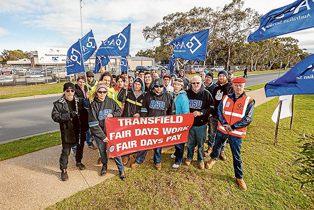 Not happy: Transfield workers protest outside the company's Mornington depot last week after EBA negotiations broke down. Picture: Yanni
