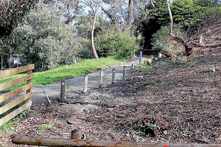 Fence gone: Mornington Peninsula Shire has replaced a contentious fence in Mt Martha with bollards and a shrubs. Picture: Cameron McCullough