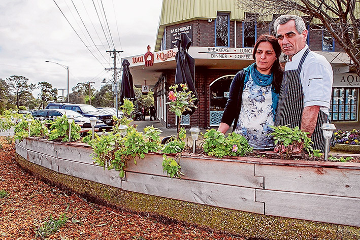 Cropped: Marc and Nina Syawish are dismayed at the destruction of their vegetable garden and replacement with other plants by Mornington Peninsula Shire. Pictures: Gary Sissons