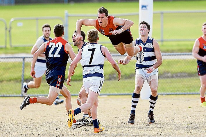 Up, up and away: High-flying Mt Eliza soared to new heights against Chelsea with a big 22.19 (151) to 6.3 (39) win at the weekend. Picture: David Trend