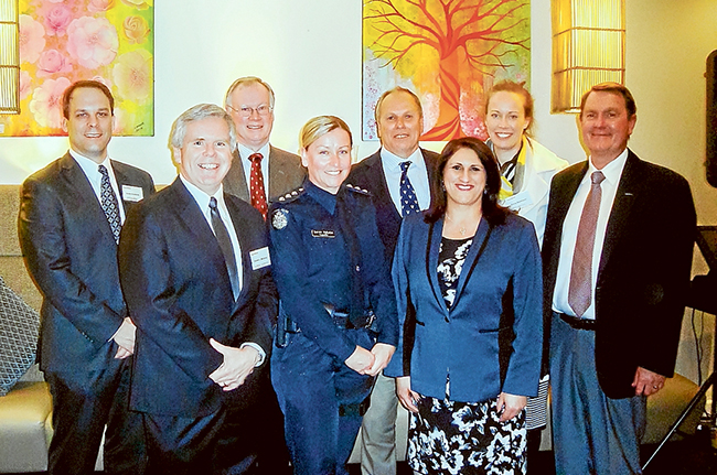 Dinner with Esso: Among those at the community liaison dinner were, from left, ExxonMobil Australia operations manager Andre Kostelnik, Esso Long Island Point plant manager Steve Williams, Cr Hugh Fraser of Mornington Peninsula Shire Council, Mornington Peninsula local area police commander Inspector Karen Nyholm, the shire council's deputy mayor Cr Graham Pittock, Cr Antonella Celi of the shire council, Kerry Sorenson of Crib Point Primary School (one of many Western Port region organisations that benefits from Esso-BHP Billiton contributions), and ExxonMobil Australia chairman Richard Owen.