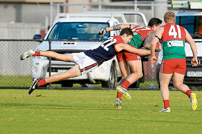 Redlegs manage to hold on: Despite Pines storming home, Mt Eliza won by eight points. Picture: Gary Bradshaw