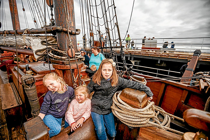Maya and Lily Crowhurst from Mt Martha with Annabelle Smythe from Mornington on board the Enterprize