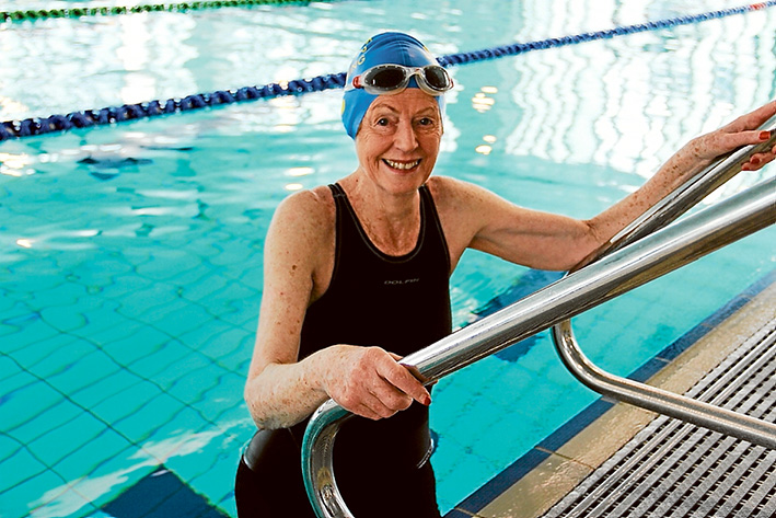 """In the swim: Ageing Well Expo poster """"girl"""" Lois Dennington will represent Victoria at the Australian Masters Games on 3 October."""