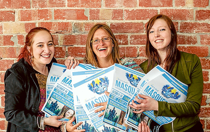 Making a difference: Chloe Tuppen, Nicky Mih and Claire Schnackenberg of Free To Shine are set to hold a masquerade party for a cause on Saturday 10 October. Picture: Yanni