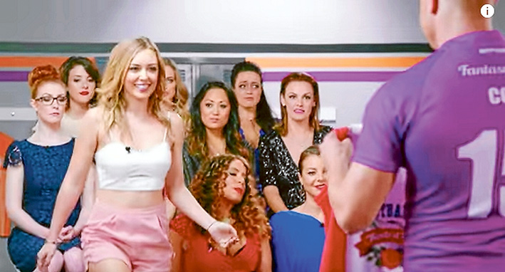Screen shot: Mornington Peninsula girl Ella Cannon, above, as she appears in the reality show Footballer Wants a Wife. Established actor Brooke Satchwell, right, is also in the show.