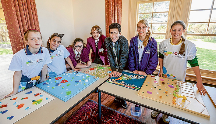 Exhibit A: Students and pupils studying ther environment at Point Nepean National Park included Emily and Mia, of Mornington Park Primary School, Audrey and Alex, Flinders Christian College, Kyle and Sara, McClelland College, and Taylor, of St Jude's Primary. Picture: Yanni