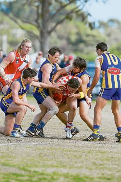 All wrapped up: Sorrento had few answers to the pressure applied by Somerville who advanced to the Nepean League Grand Final with victory over the Sharks. Picture: Scott Memery