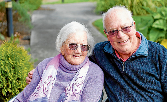 Many happy returns: Centenarian Thelma Adams with her son Roy at Opal Aged Care, Mornington. Picture: Yanni