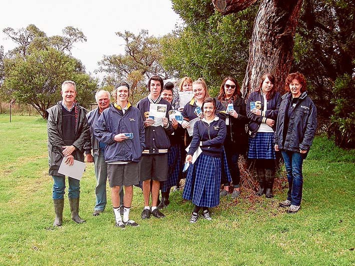 Up the creek: Somerville Secondary College students join Westernport Biosphere's Lance Lloyd (far left), property owner Peter Randall (second from left), Melbourne Water education officer Jane Petch (far right) for a walk alongside Watson Creek near where it enters Watson Inlet.