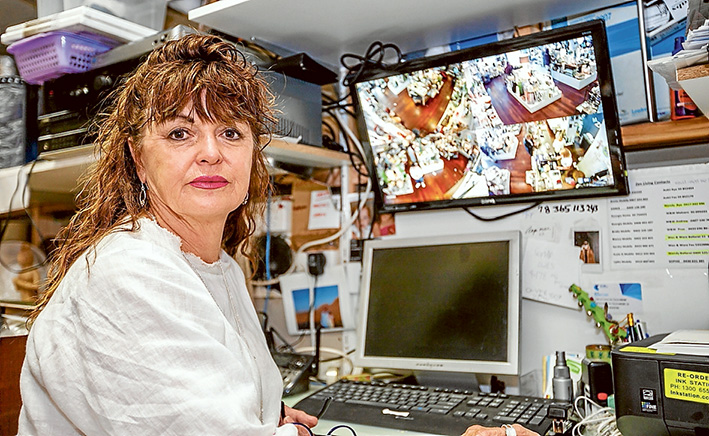 Caught in the act: Zen Living proprietor Annie Zaicz used CCTV images to track the offender down online. Picture: Yanni