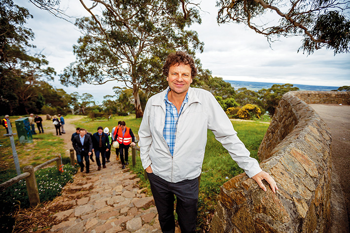 Site preparation: Skylift chairman Simon McKeon at Arthurs Seat on Friday where clearing work is the first tangible sign of the 12-month plus gondola construction project. Picture: Yanni