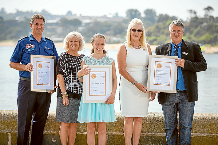 Award holders: Mornington Peninsula Shire mayor Bev Colomb, second from left, with winners of the 2015 Mornington Peninsula Australia Day awards, Tim Nolan, Sarah Berry, and Mornington Yacht Club's Sheryl Schumacher and Graeme Alexander.