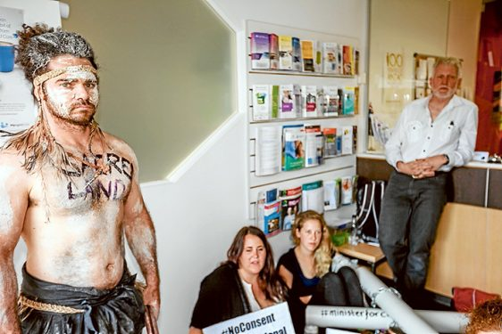 Inner sanction: Protesters are now a regular sight inside Mr Hunt's office and have in the past disputed his claims that his staff had been intimidated. Pictures: Yanni