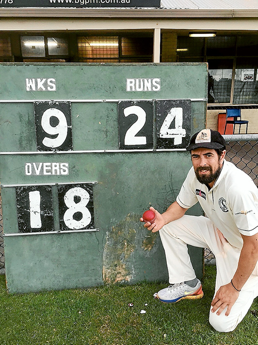 Bowling into the record books: Glenn Barclay took 9/24 off 18 overs against Rye on Saturday; a Crib Point Cricket Club record. Picture: Ricky Thompson